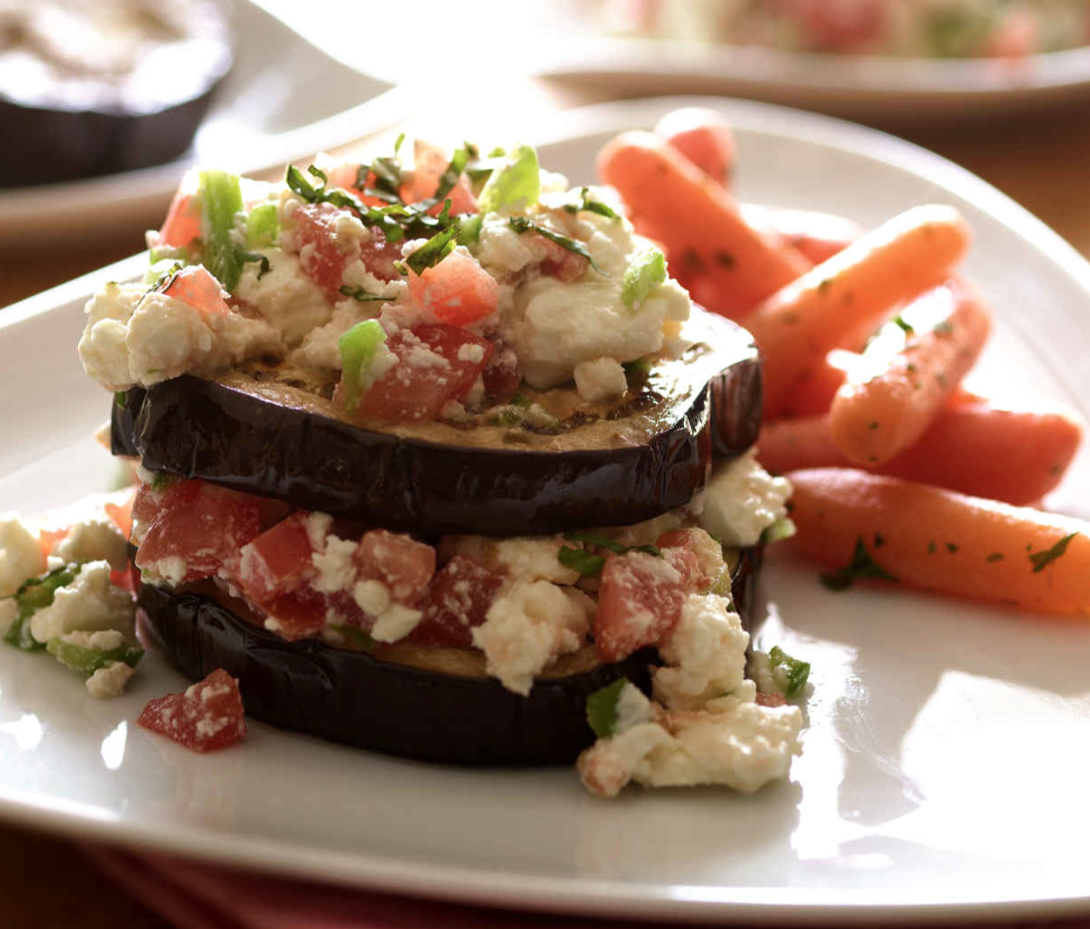 Joy of Kosher's Stacked Eggplant Rounds by Jamie Geller