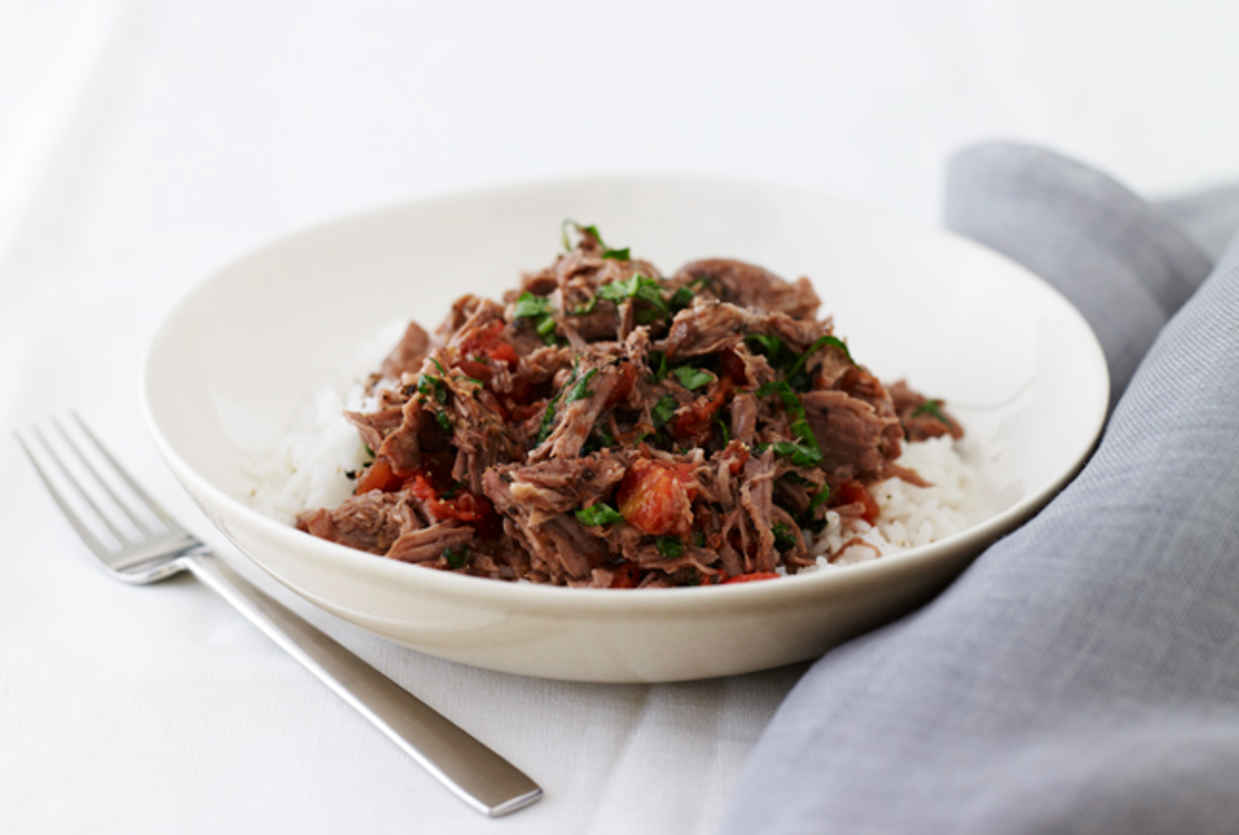 JoyofKosher.com's Shredded Lamb with Tomato Basil Over Rice by Jamie Geller